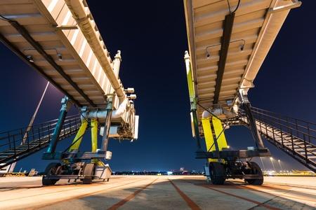 two aerobridge at night photo