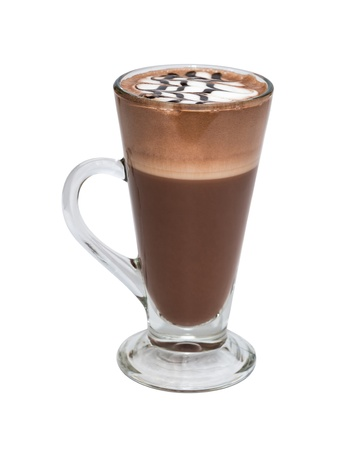 Hot chocolate with whipped cream in mug on white background