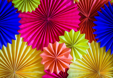 circle shape of origami papers Stock Photo