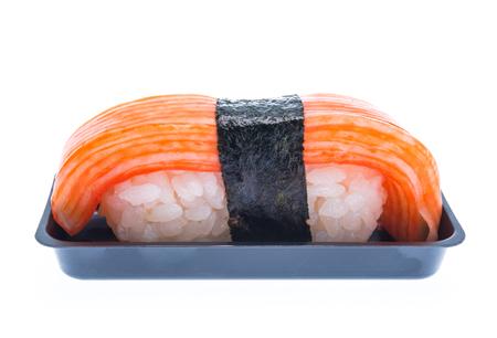 Sushi crab stick isolated on white background