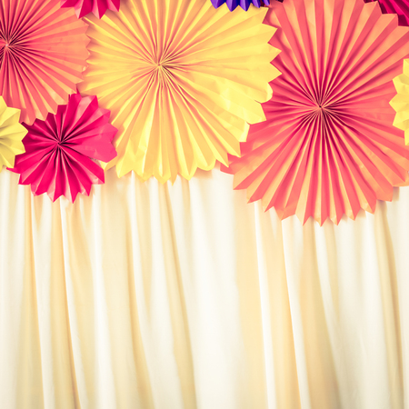 Circle Shape Of Origami Papers With Blinds Retro Vintage Filter