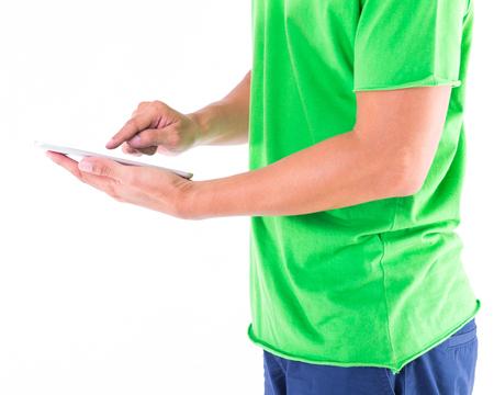 blank tablet: Man holding blank digital tablet in hands
