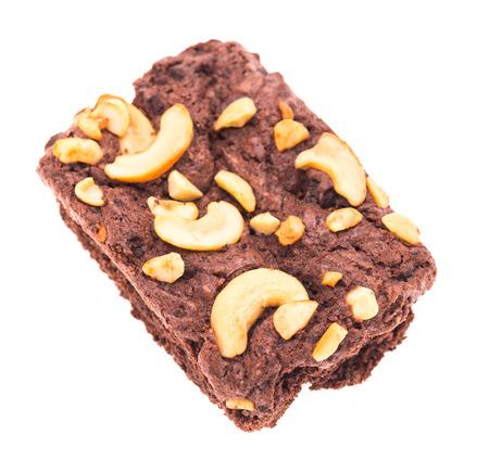 plato del buen comer: Chocolate brownie isolated on white background Foto de archivo
