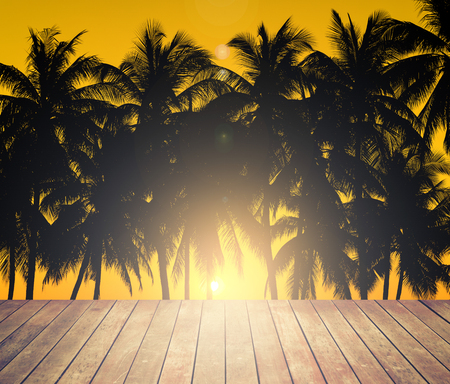 wooden floor and coconuts silhouettes with tropical sunset Stock Photo