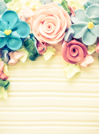Birthday cake with flowers - retro vintage filter effect