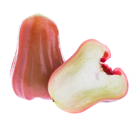 Rose apples or Chomphu slices on white background Stock Photo