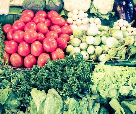 Group of fresh vegetables - retro vintage filter effect