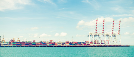 industrial port with containers - retro vintage filter effect