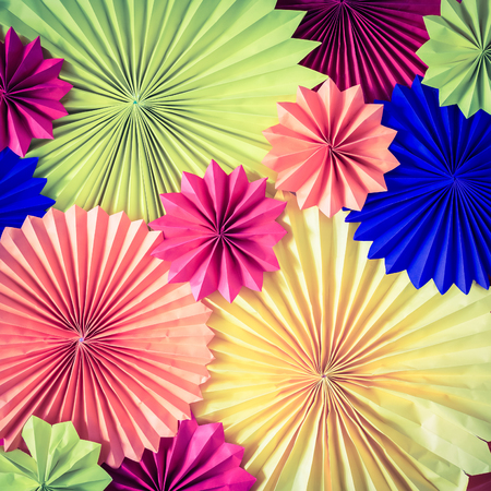 yell: circle shape of origami papers - retro vintage filter effect Stock Photo