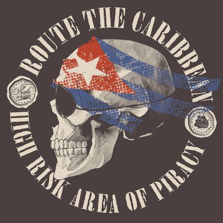 Pirate skull with a flag as a bandana