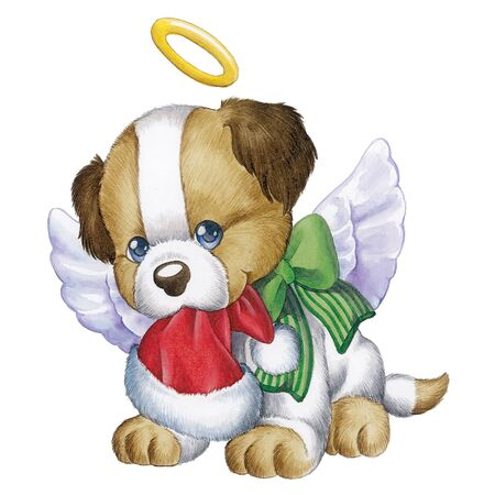 period costume: Puppy with halo and angel wings