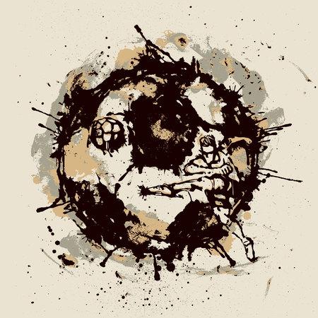 Soccer player inside imprint of ball