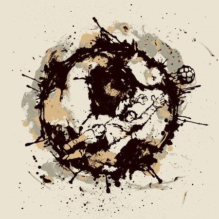 Soccer goalkeeper inside imprint of ball Illusztráció