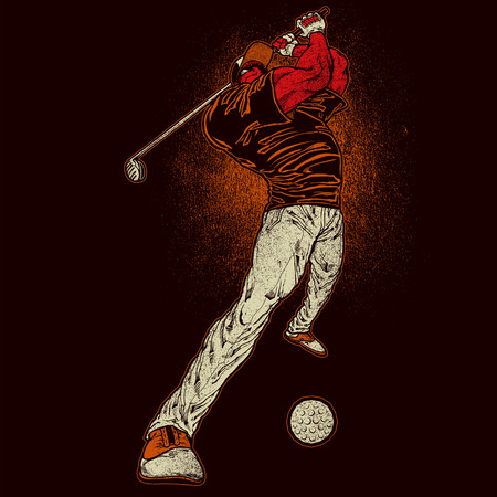 golf player: Angry golf player Illustration
