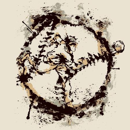 Baseball player inside imprint of ball