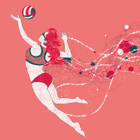 between: Beach volleyball player with a graphics trail