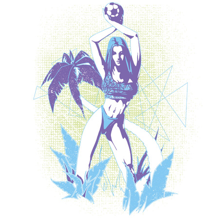 Soccer girl in a floral background graphics