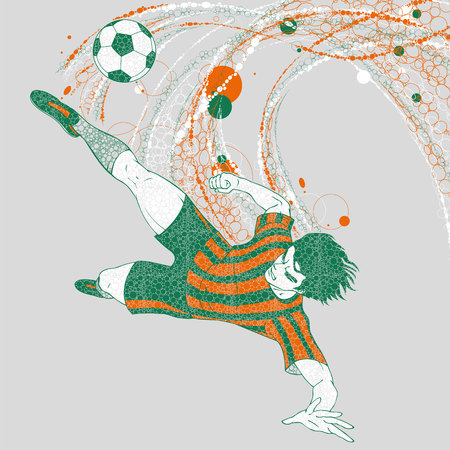 Soccer player with a graphics trail Illusztráció