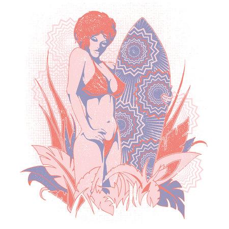 Surfer girl in a floral background graphics Illustration