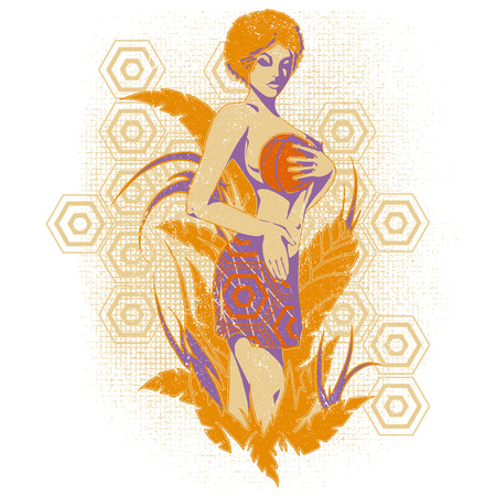 baloncesto chica: Basketball girl in a floral background graphics