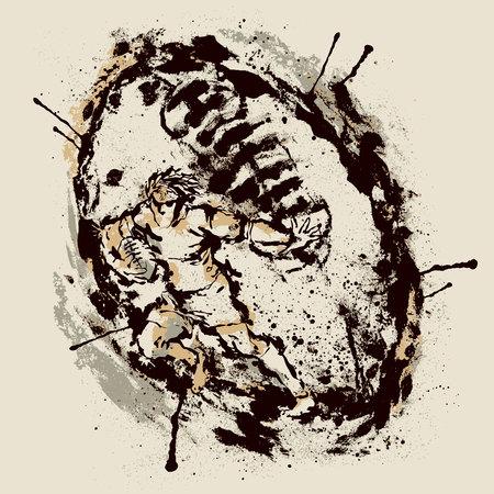 Rugby player inside imprint of ball Illusztráció