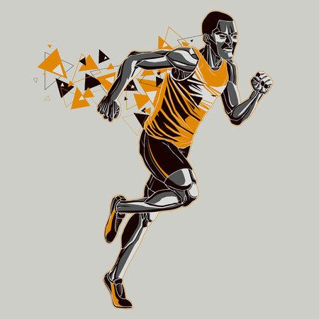 Running athlet with a graphics trail Illusztráció