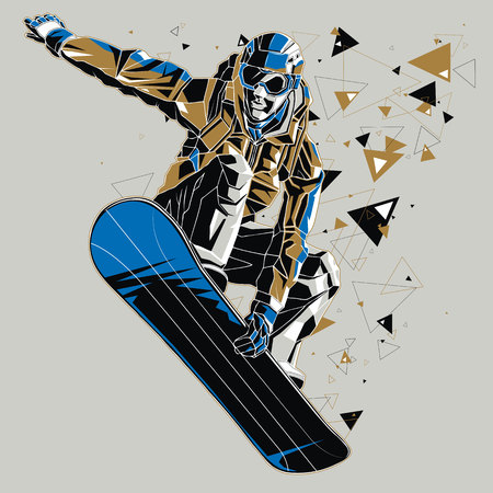Snowboarder with a graphics trail