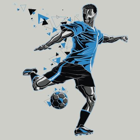 Voetbalspeler met een grafische route