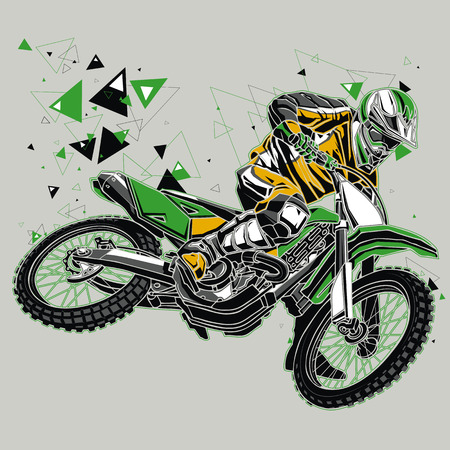 motociclista: Motorcyclist with a graphics trail Vectores
