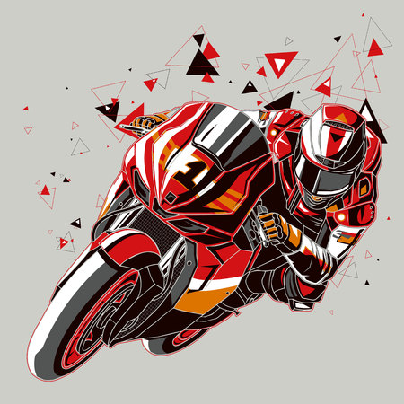 motorcyclist: Motorcyclist with a graphics trail Illustration
