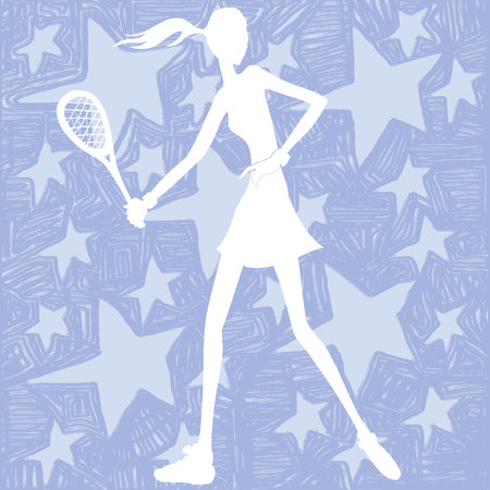 tennis girl: Tennis girl on a stars background