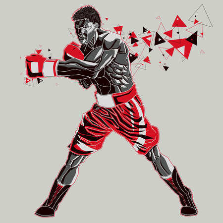 pugilist: Boxer athlet with a graphics trail