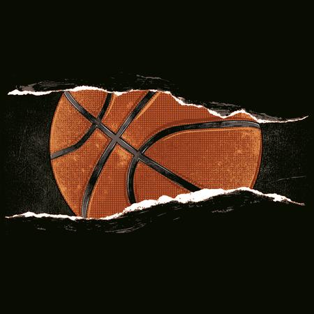 rip: Basketball behind a rip Illustration