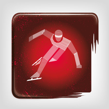 speed skating: Speed ??skating stripy icon