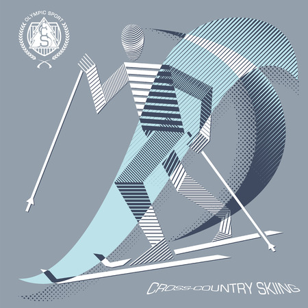 crosscountry: Stripy cross-country skier