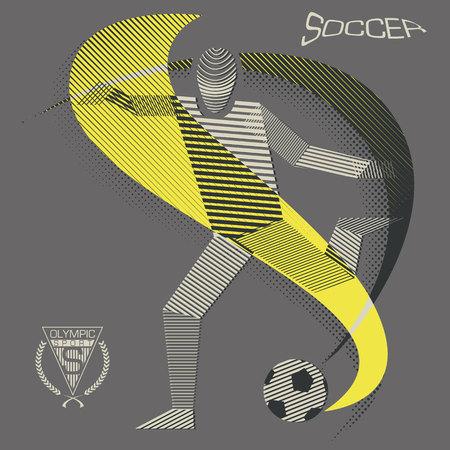 Stripy soccer player Illusztráció