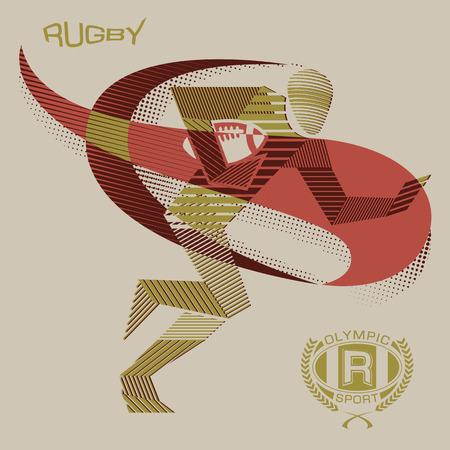 Stripy rugby player Illusztráció
