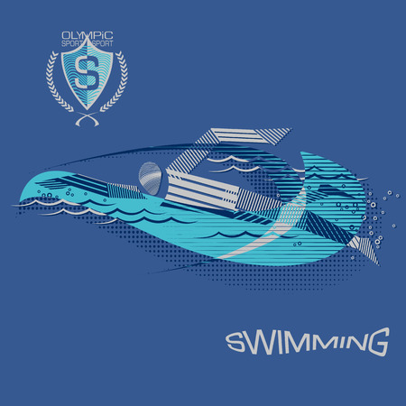 competitions: Stripy swimmer athlet