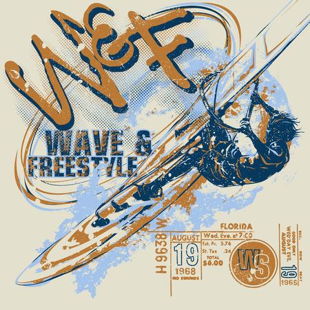 Windsurfer with ticket graphics Illustration