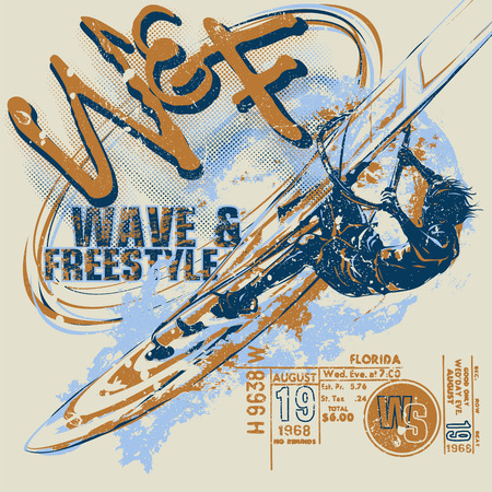 Windsurfer with ticket graphics