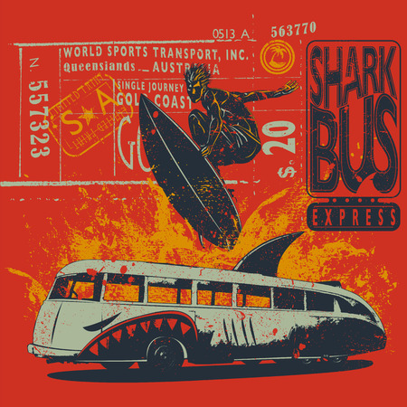 buss: Surfer with ticket graphics and shark-bus Illustration