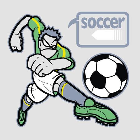 Soccer player near graphics balloon