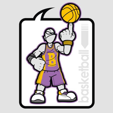 balon de basketball: gráficos jugador de baloncesto en el interior del globo