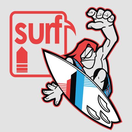 wetsuit: Surfer jumping on board near graphics balloon Illustration