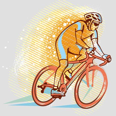 Cyclist on the background graphics Illusztráció