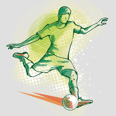 Soccer player on the background graphics