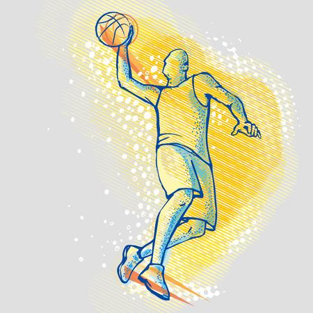 balon baloncesto: Basketball player on the background graphics Vectores