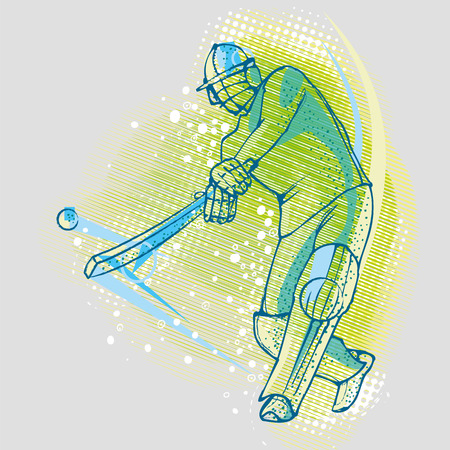british culture: Cricket player on the background graphics Illustration