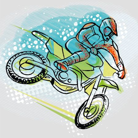 motorcyclist: Motorcyclist ride on graphics background Motocross