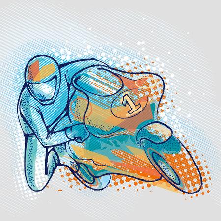 motociclista: Motociclista en el fondo gráficos Vectores